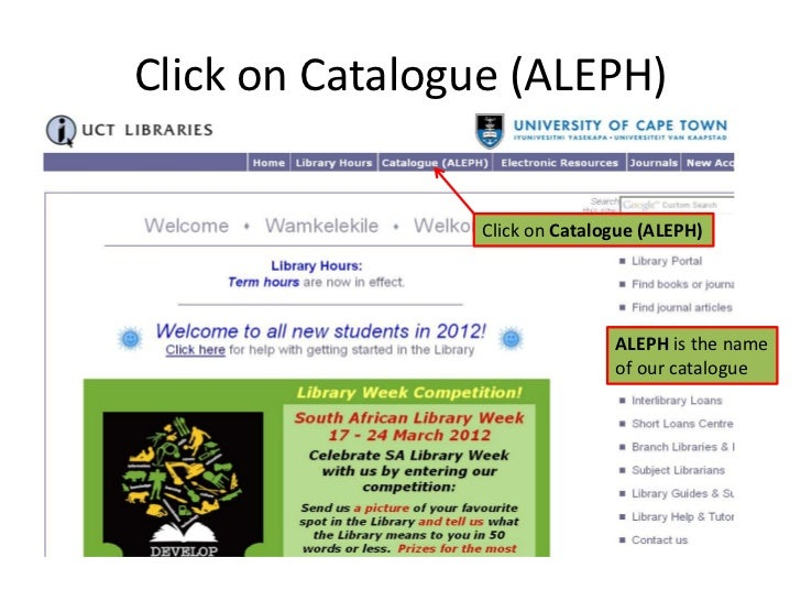 How to look for books in UCT Libraries Slide 3