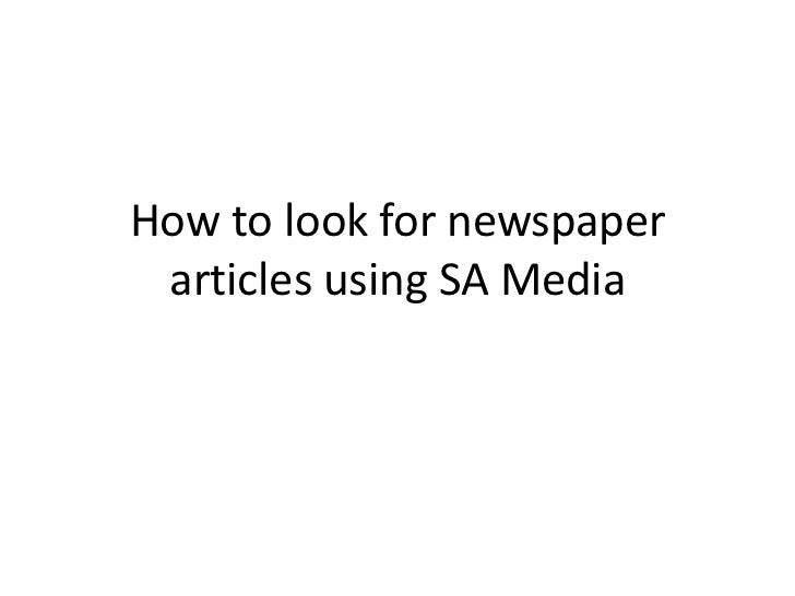 How to look for newspaper articles using SA Media
