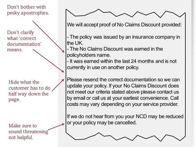 6 We Will Accept Proof Of No Claims Discount