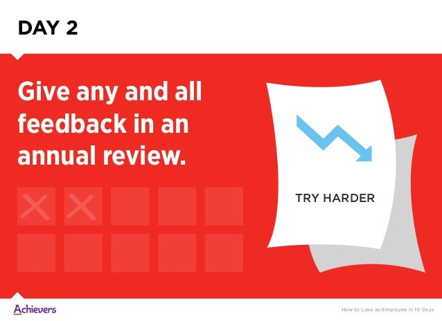TRY HARDER DAY 2 Give any and all feedback in an annual review. How to Lose an Employee in 10 Days