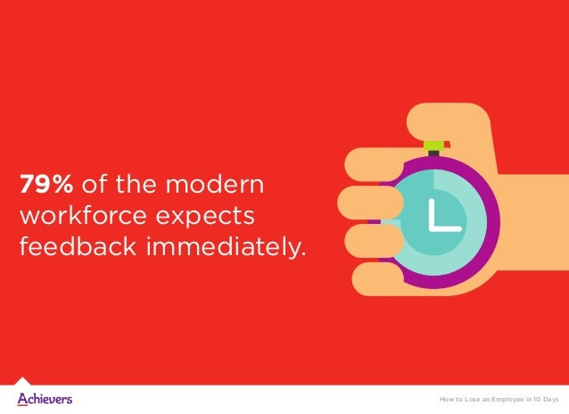 79% of the modern workforce expects feedback immediately. How to Lose an Employee in 10 Days
