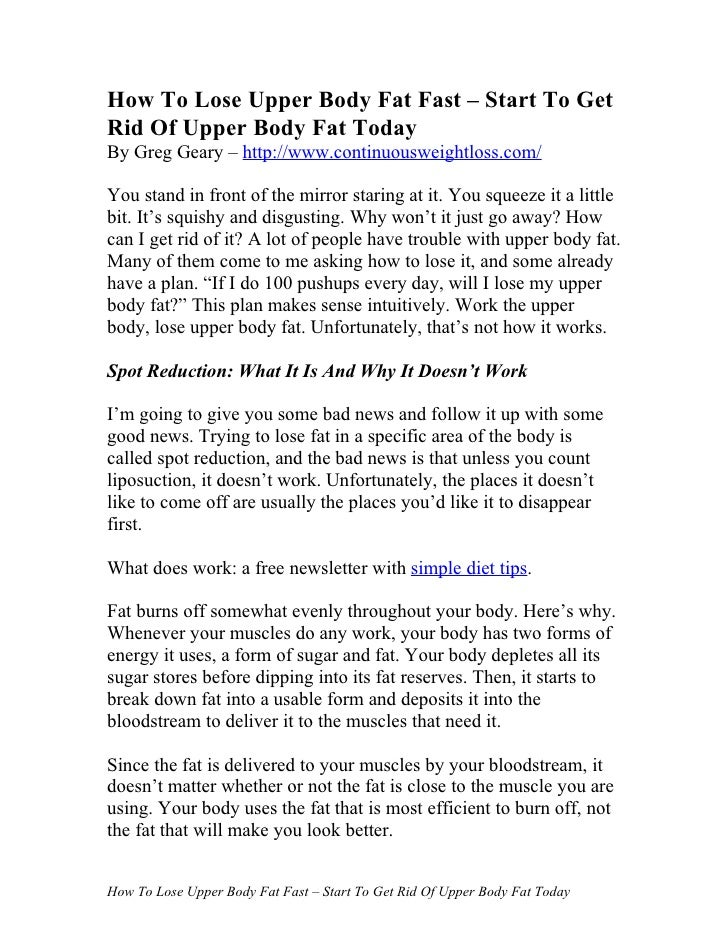 How To Lose Upper Body Fat Fast – Start To Get Rid Of Upper Body Fat Today By Greg Geary – http://www.continuousweightloss...