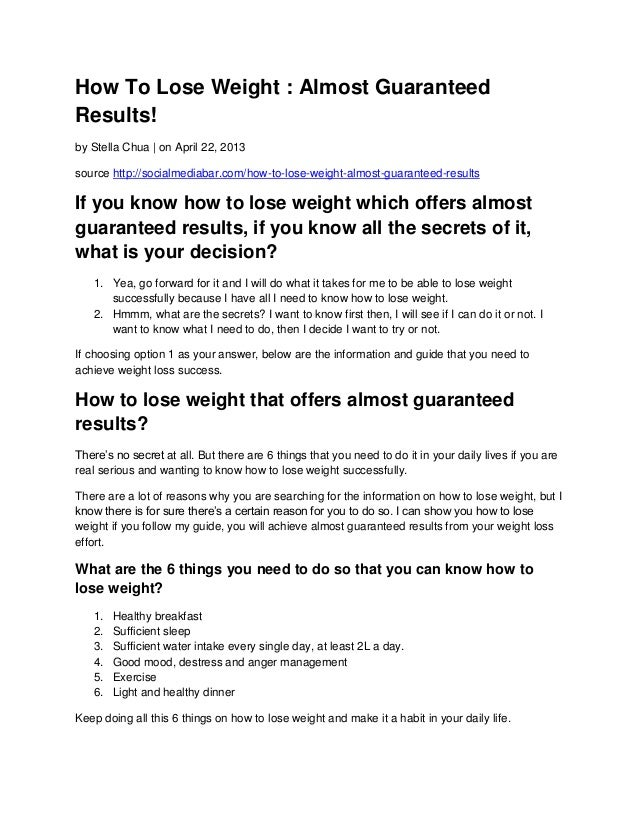 How To Lose Weight Almost Guaranteed Results