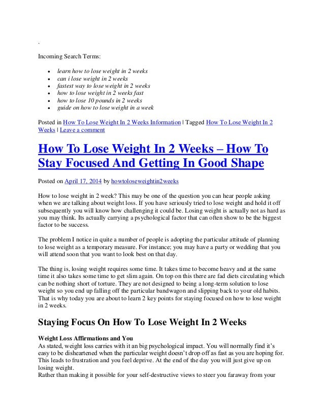 How to lose weight in less than 7 days