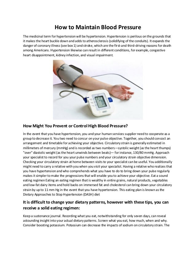 How To Maintain Blood Pressure