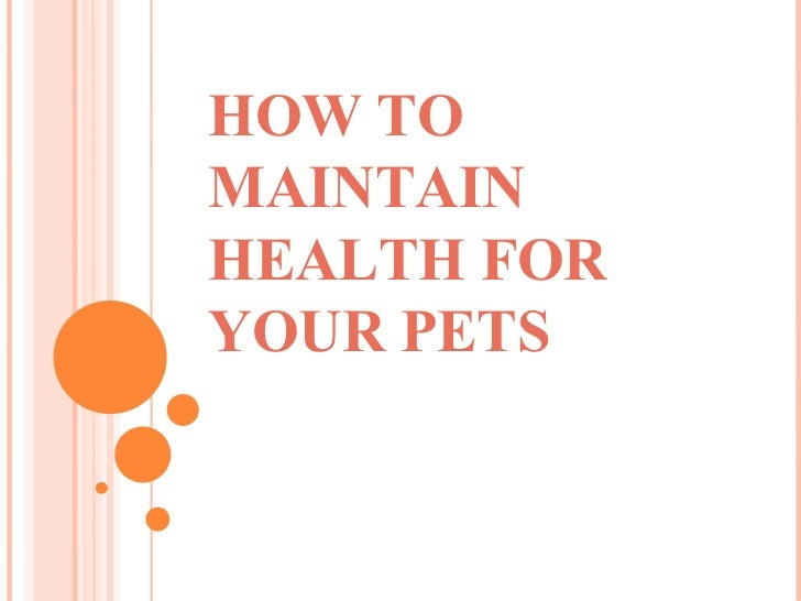 HOW TOMAINTAINHEALTH FORYOUR PETS
