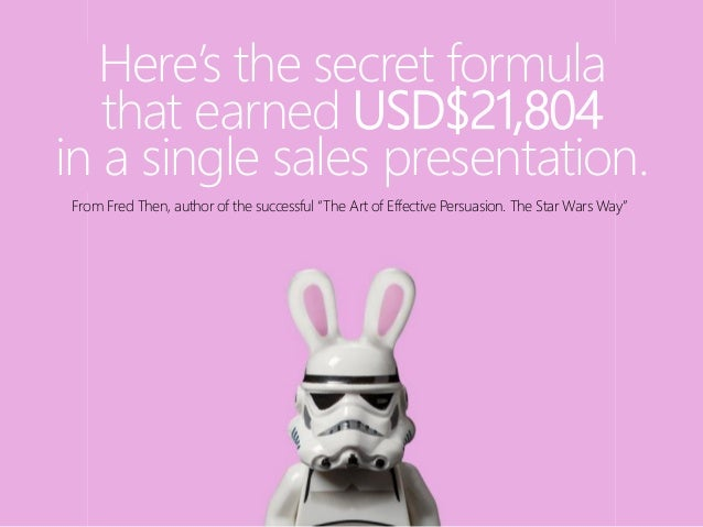 Here's the secret formula that earned USD$21,804 in a single sales presentation. From Fred Then, author of the successful ...