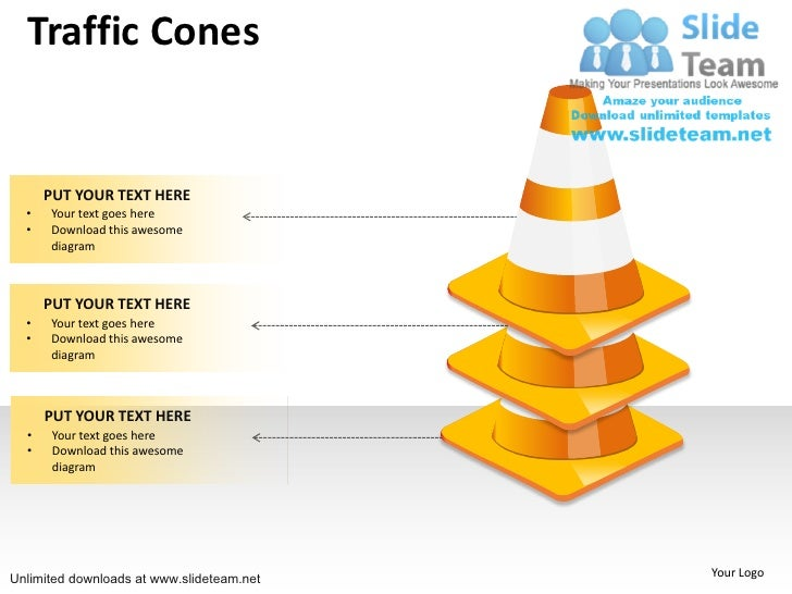 How To Make 3 Traffic Cones Stacked Power Point Slides And