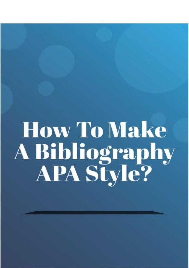 make a bibliography apa