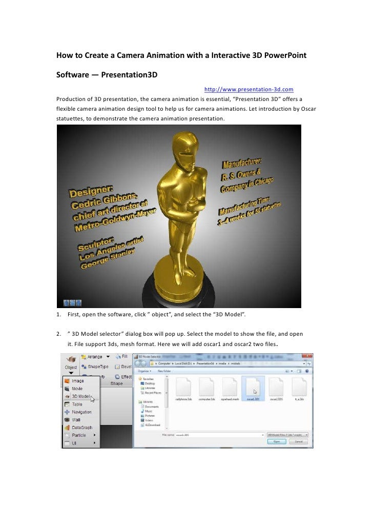 How to Create a Camera Animation with a Interactive 3D PowerPoint Software — Presentation3D<br />                     http...