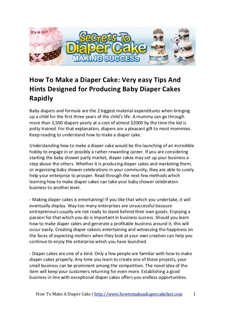 How To Make A Diaper Cake For A Potential Business or Baby Shower Par…