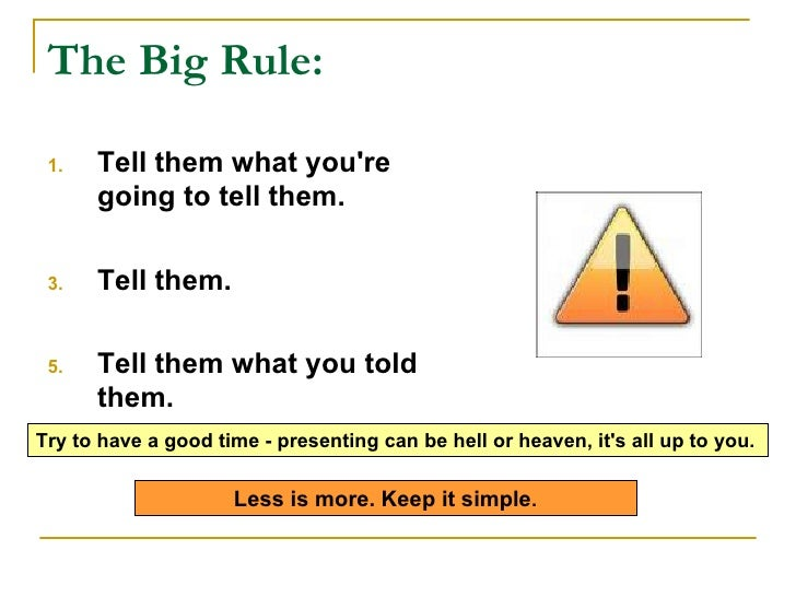 The Big Rule: <ul><li>Tell them what you're going to tell them.  </li></ul><ul><li>Tell them.  </li></ul><ul><li>Tell th...