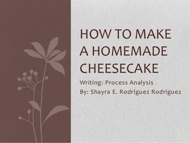 HOW TO MAKEA HOMEMADECHEESECAKEWriting: Process AnalysisBy: Shayra E. Rodríguez Rodríguez