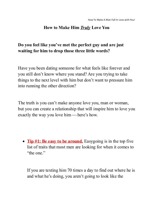 How To Make A Man Loves You