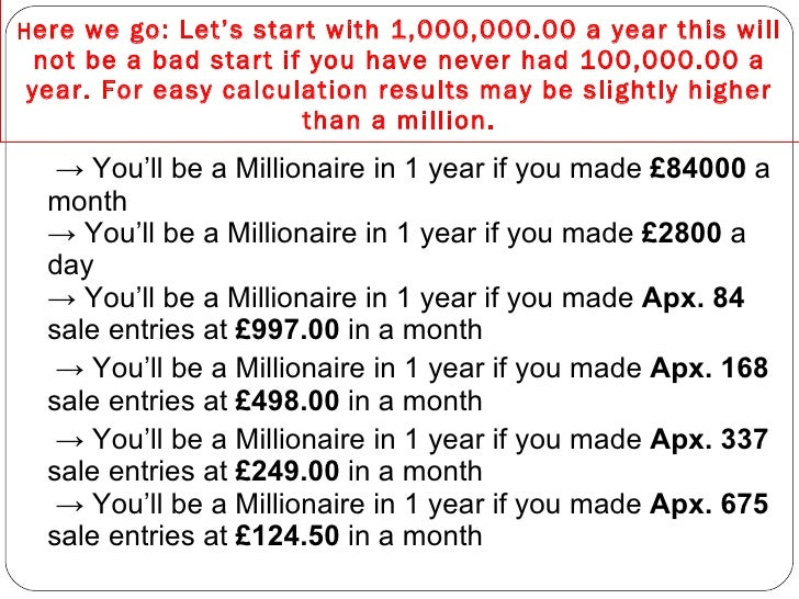 how to earn a million pounds