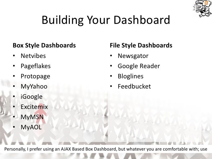 Building Your Dashboard     Box Style Dashboards                          File Style Dashboards     • Netvibes            ...