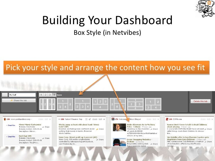 Building Your Dashboard                   Box Style (in Netvibes)    Pick your style and arrange the content how you see f...