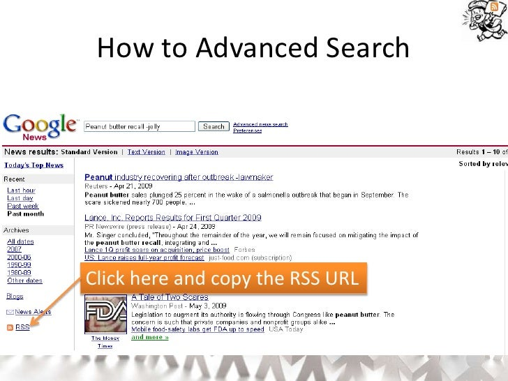 How to Advanced Search     Click here and copy the RSS URL