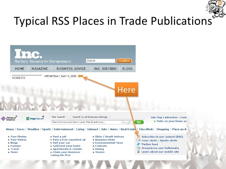 Typical RSS Places in Trade Publications                         Here