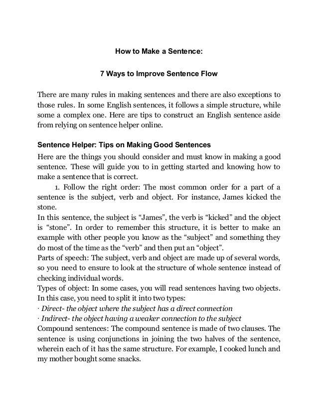 Sentence Helper: How to Improve a Sentence's Flow