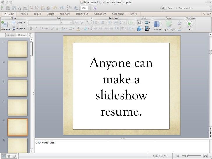 How To Make A Slideshow Resume
