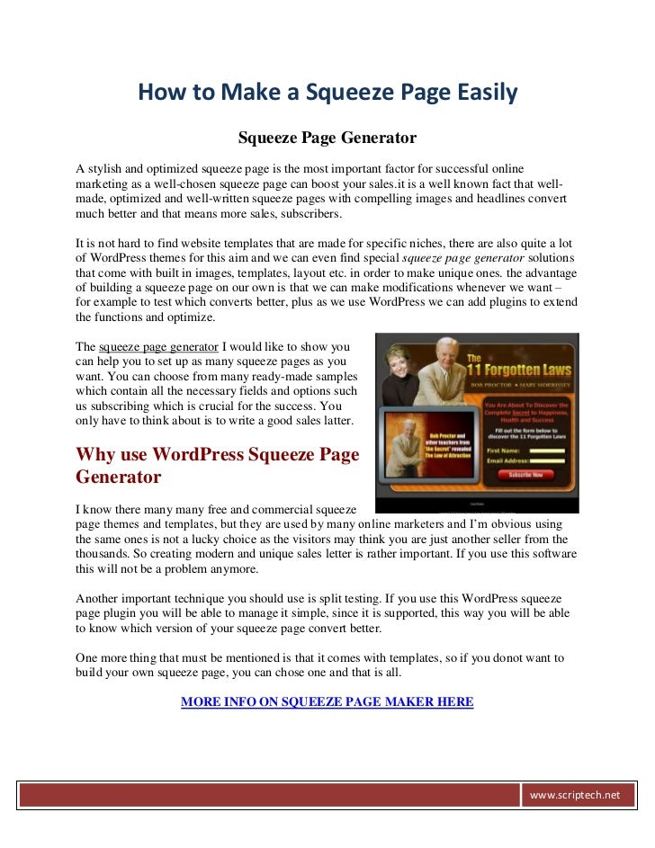 How to Make a Squeeze Page Easily                                Squeeze Page GeneratorA stylish and optimized squeeze pag...