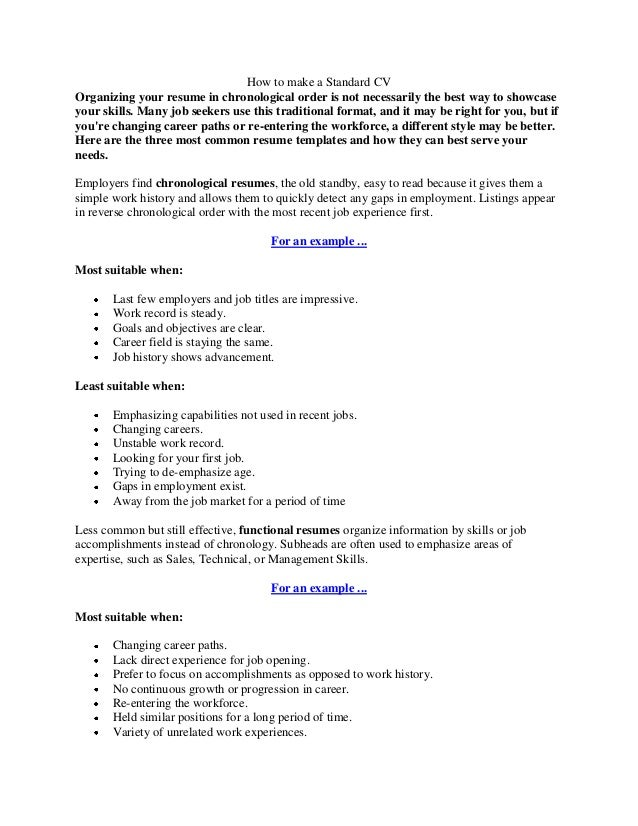 what goes on a resume how to make a standard cv 1271
