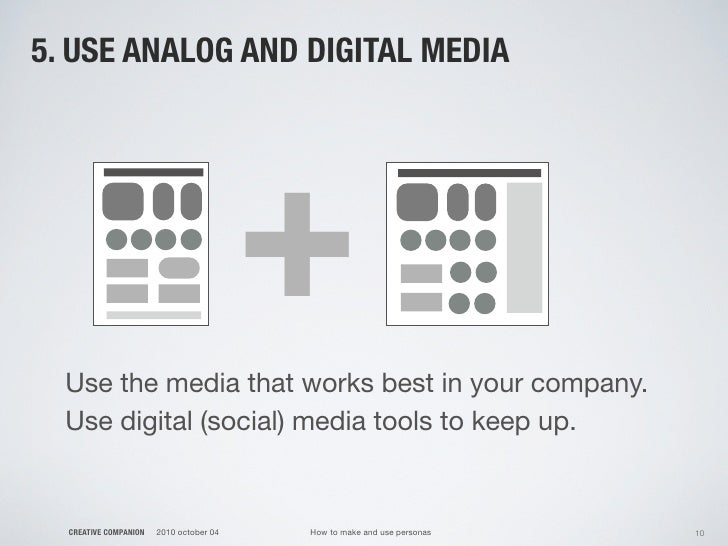 5. USE ANALOG AND DIGITAL MEDIA                                              +   Use the media that works best in your com...