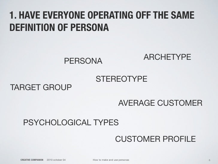 1. HAVE EVERYONE OPERATING OFF THE SAME DEFINITION OF PERSONA                                       PERSONA               ...
