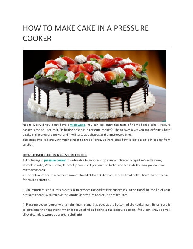 How To Make Cake In Pressure Cooker At Home