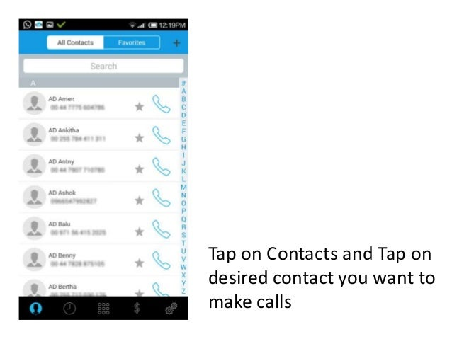 How To Make Calls From Your Contact List In Ringtoindia Android App
