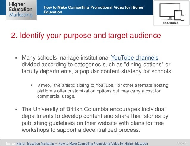 How to make compelling promotional video for higher education
