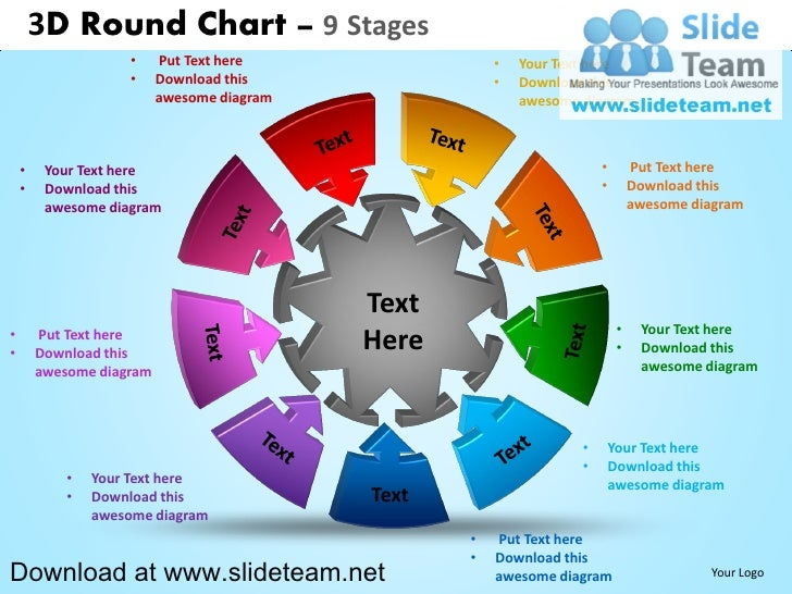 how to make create 3 d interconnected circular puzzle pieces 9 stage…, Modern powerpoint