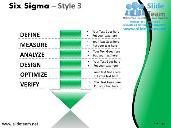 Six Sigma – Style 3                         •       Your Text Goes here        DEFINE           •       Put your text here...