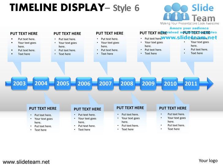 How to make create timeline display design 6 powerpoint presentation ppt templates graphics clipart timeline display style 6 put text here put text toneelgroepblik Choice Image