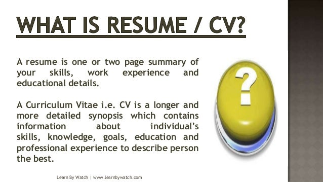 how to make cv resume