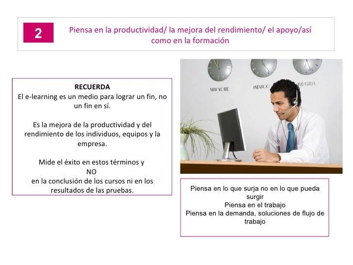 Piensa en la productividad/ la mejora del rendimiento/ el apoyo/así como en la formación RECUERDA El e-learning es un medi...