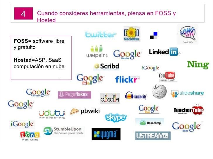 Cuando consideres herramientas, piensa en FOSS y Hosted FOSS = software libre y gratuito Hosted =ASP, SaaS computación en ...