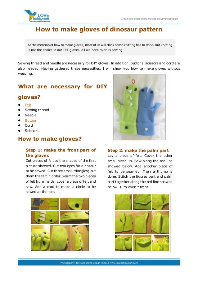 How to make gloves of dinosaur patternSewing thread and needle are necessary for DIY gloves. In addition, buttons, scissor...