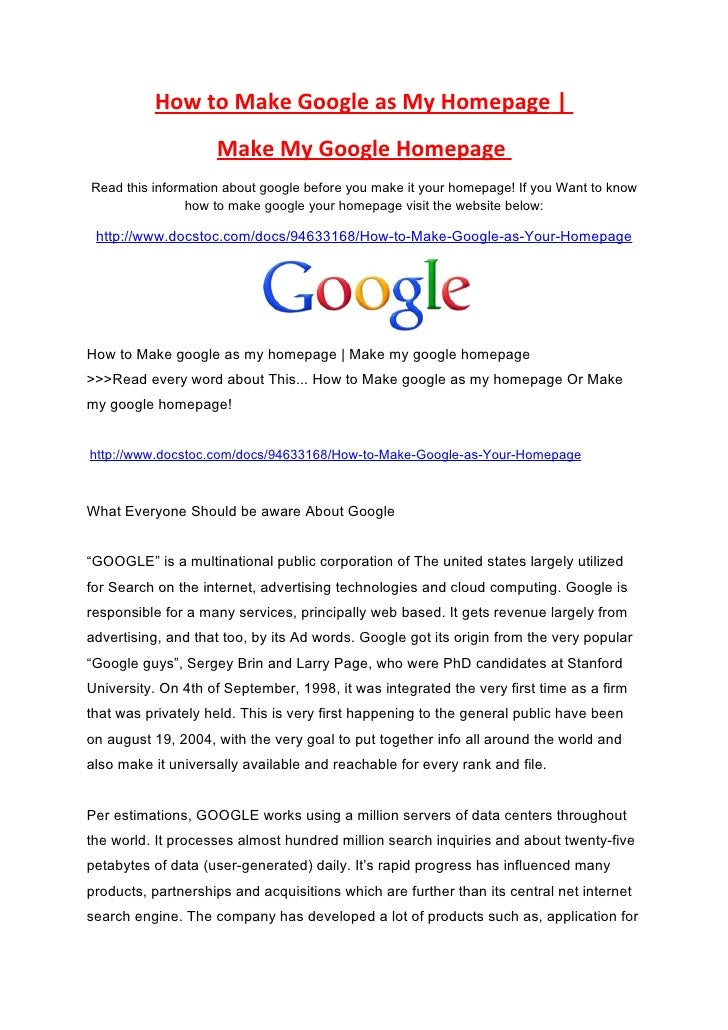how to set google as your homepage