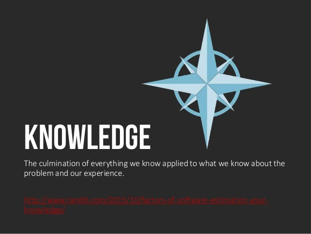 KnowledgeThe culmination of everything we know applied to what we know about the problem and our experience. http://www.ra...