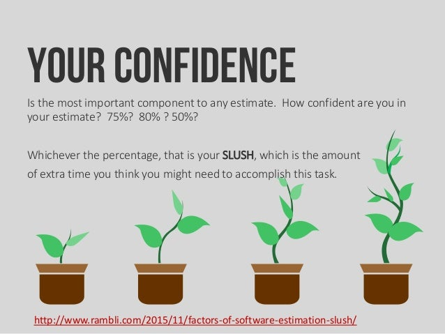 Your ConfidenceIs the most important component to any estimate. How confident are you in your estimate? 75%? 80% ? 50%? Wh...