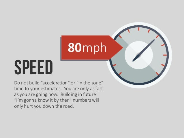 """80mph SpeedDo not build """"acceleration"""" or """"in the zone"""" time to your estimates. You are only as fast as you are going now...."""