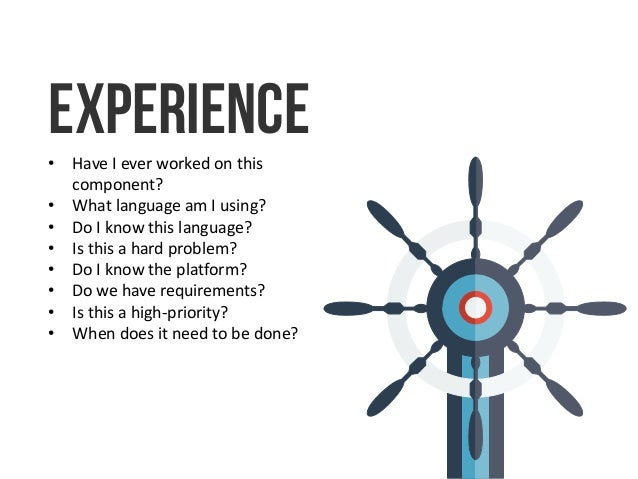 Experience • Have I ever worked on this component? • What language am I using? • Do I know this language? • Is this a hard...