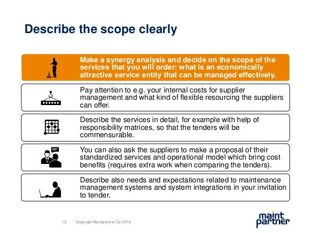 Describe the scope clearly Make a synergy analysis and decide on the scope of the services that you will order: what is an...