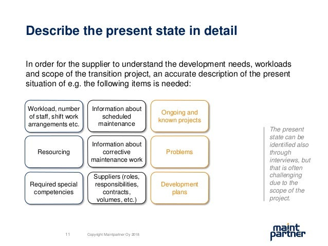 Describe the present state in detail In order for the supplier to understand the development needs, workloads and scope of...