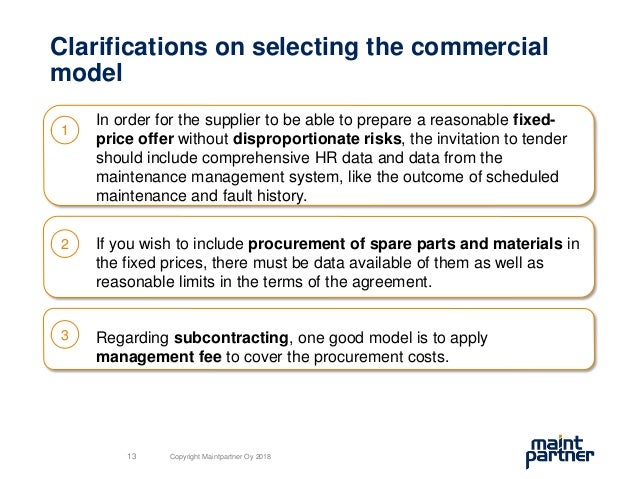 Clarifications on selecting the commercial model In order for the supplier to be able to prepare a reasonable fixed- price...