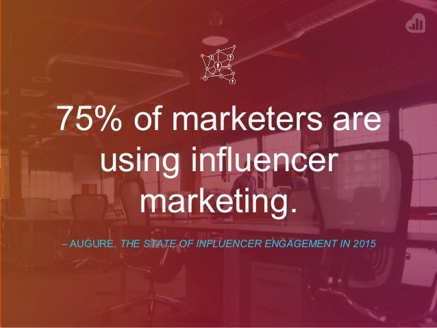 75% of marketers are using influencer marketing. – AUGURE, THE STATE OF INFLUENCER ENGAGEMENT IN 2015