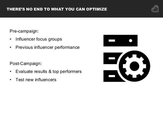 Pre-campaign: • Influencer focus groups • Previous influencer performance Post-Campaign: • Evaluate results & top perfo...