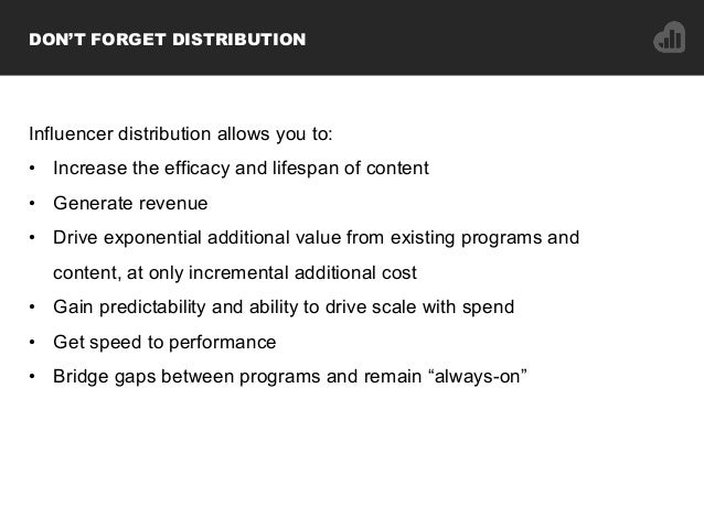 Influencer distribution allows you to: • Increase the efficacy and lifespan of content • Generate revenue • Drive expon...